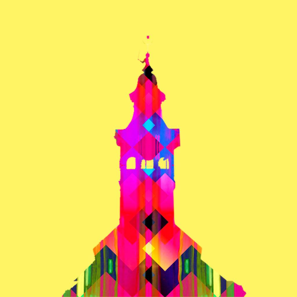 """Marcin Oczkowski OKI, """"Dreams Consierge - Ikona Znaki"""" - Pejzaż Miejski Przeworsk III, druk cyfrowy + technika własna, 2018 r"""